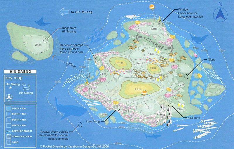 Hin Daeng Dive Site Map