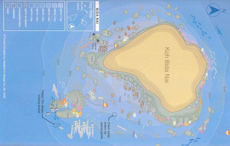 Koh Bida Nai Dive Site Map