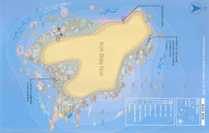 Koh Bida Nok Dive Site Map