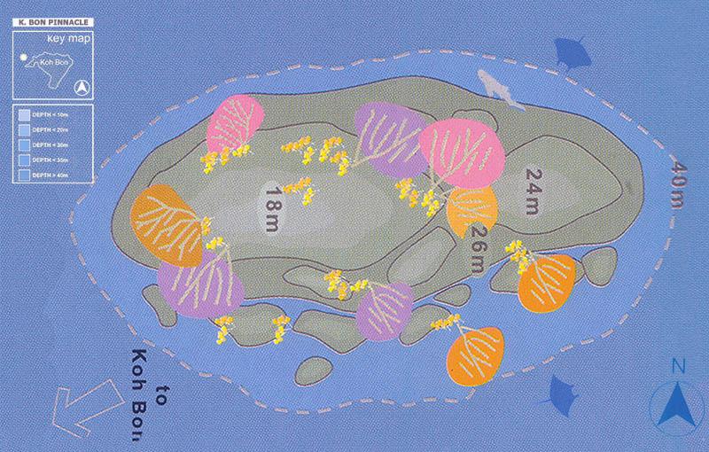 Koh Bon Pinnacle Dive Site Map
