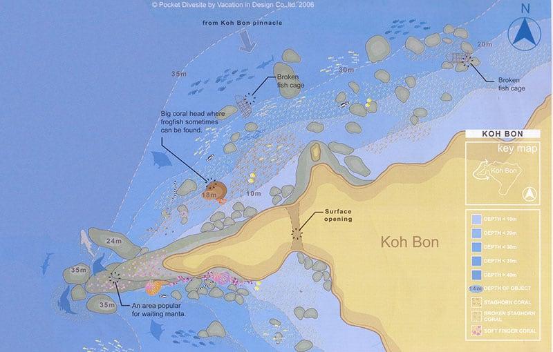 Koh Bon Ridge Dive Site Map