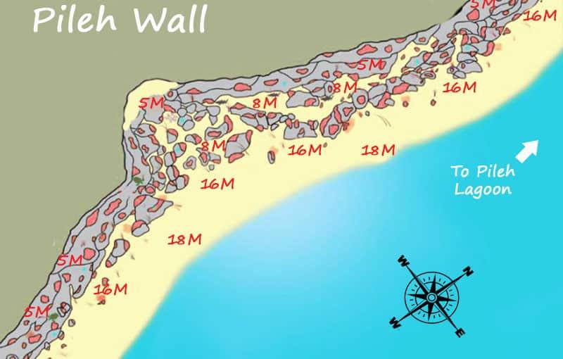 Pileh Wall Dive Site Map