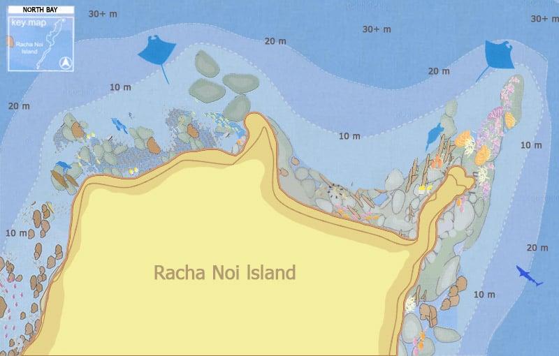 Racha Noi North Bay Dive Site Map