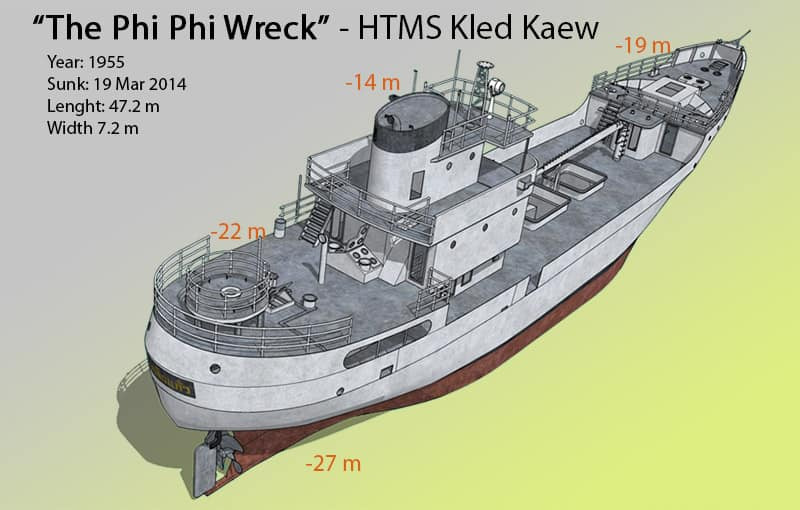 Phi Phi Wreck Dive Site Map